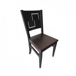 Silla Génova madera color nogal oscuro con asiento de madera