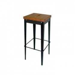 Taburete Michigan acero negro y asiento de madera roble