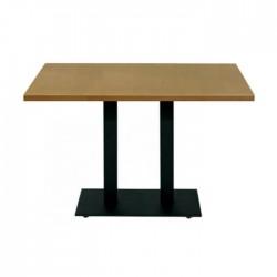 Mesa Praga doble pie metálico negro y tablero de madera color roble