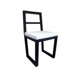 Silla Sicilia madera de haya color wengué negro con asiento de polipiel blanco