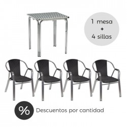 Conjunto terraza hostelería Sumatra silla ratán negro