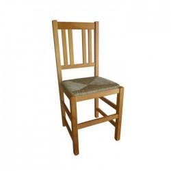 Silla Cuenca madera color roble con asiento de anea