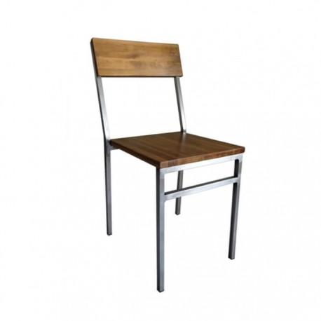Silla vintage industrial Detroit acero y madera