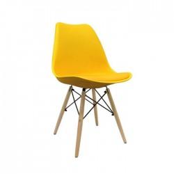 Silla nórdica Eames con cojín polipropileno color amarillo