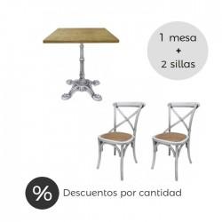 Conjunto mesa pie de hierro y 2 silla thonet blanco decapado
