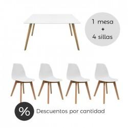 Conjunto nórdico mesa comedor y sillas blanco
