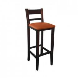 Taburete Venecia madera color nogal oscuro con asiento tapizado
