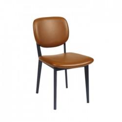 Silla Livorno comedor polipiel color marrón