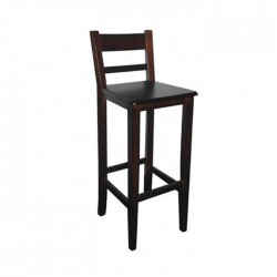 Taburete Venecia madera color nogal oscuro con asiento de madera