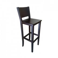 Taburete Nápoles madera color nogal oscuro con asiento de madera