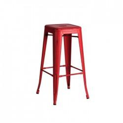 Taburete industrial Tólix acero envejecido color rojo