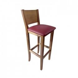 Taburete Nápoles madera color nogal claro con asiento tapizado