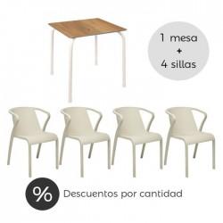 Conjunto hostelería Rodas tablero roble oscuro y silla arena