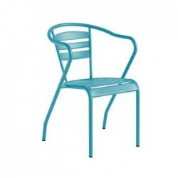 Silla Algarve metálica terraza hostelería color azul ágata