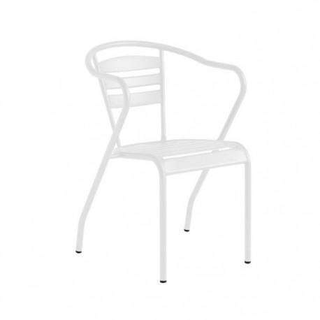 Silla Algarve metálica terraza hostelería color blanco