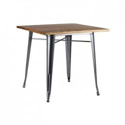 Mesa Tólix color gris metalizado con tablero de madera