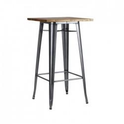 Mesa alta Tólix color gris metalizado con tablero de madera