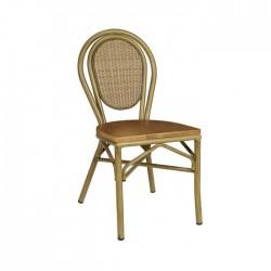 Silla Rennes asiento madera aluminio deco bambú