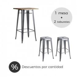 Conjunto hostelería Tólix acero gris metalizado y madera natural