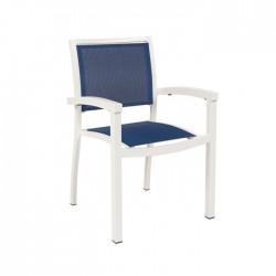 Silla Fremont aluminio blanco y textilene azul terrazas