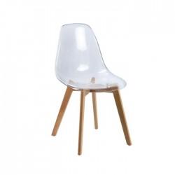 Silla Islandia patas madera de haya y asiento policarbonato transparente