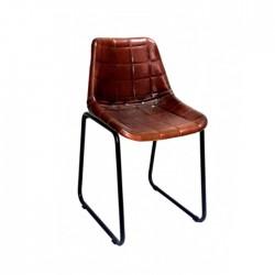 Silla Rodeo hierro y piel reciclada color cuero viejo hostelería