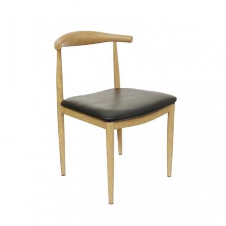 Silla Elbow acero imitación madera con asiento en polipiel negro