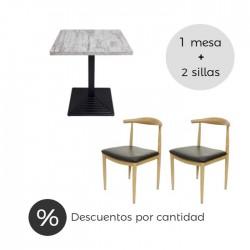 Conjunto hostelería mesa melamina y sillas Elbow