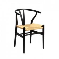 Silla Wishbone RB madera de haya lacada en negro
