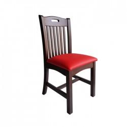 Sillas Santander en madera color nogal oscuro con asiento en polipiel