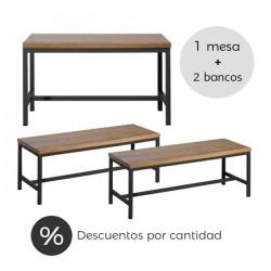 Conjunto vintage industrial mesa + bancos hostelería