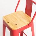 Taburete Tólix madera hostelería metal rojo