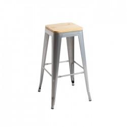 Taburete Tólix hostelería gris con asiento de madera
