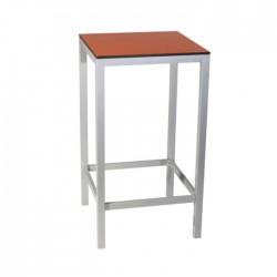 Mesa alta Fargot aluminio con tablero compacto naranja