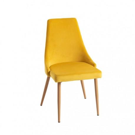 Silla hostelería Gotemburgo terciopelo amarillo