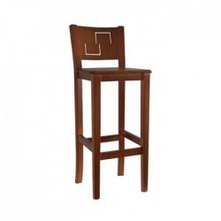Taburete Génova madera color nogal con asiento de madera