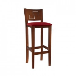 Taburete Génova madera color nogal con asiento tapizado