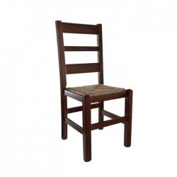 Silla Toledo madera color nogal con asiento de anea