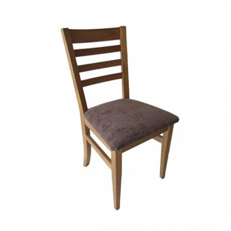 Silla Venecia madera color roble con asiento tapizado