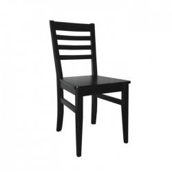 Silla Venecia madera color wengué negro con asiento de madera