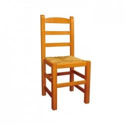 Silla Ávila madera color miel con asiento de anea