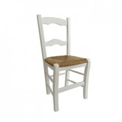 Silla Jaén madera color blanco con asiento de anea