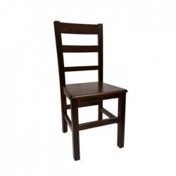 Silla Madrid madera color nogal oscuro con asiento de madera