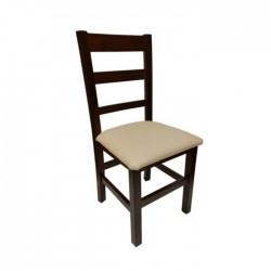 Silla Madrid madera color nogal oscuro con asiento tapizado