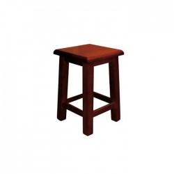 Taburete bajo Alcora madera color nogal con asiento de madera
