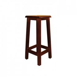 Taburete alto Alcora madera color nogal con asiento de madera