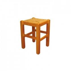 Taburete bajo Ávila madera color miel con asiento de anea