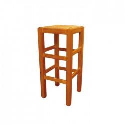 Taburete alto Ávila madera color miel con asiento de anea