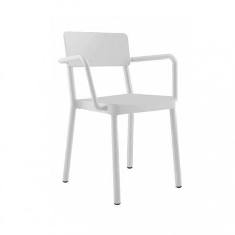 Silla Lisboa con brazos plástico color blanco