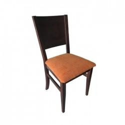 Silla Nápoles madera color nogal oscuro con asiento tapizado